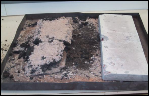 Resim 4: Sıcaklık 750oC'ye yükseldiğinde asfalt(sol) ve beton(sağ) numunenin karşılatırması yapılmaktadır. Yangın sonrasında betonun daha iyi  performans sağladığı görülmektedir. 10 m2 asfaltın  yanması sonucu açığa çıkan enerjinin hemen hemen bir arabanın yanması sonucu oluşan enerjiye(18000MJ) eşdeğer olduğu bilinmektedir.